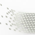 Abstract background composition made of multiple glossy silver tiles over the white reflective surface Royalty Free Stock Images