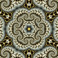 Abstract background consisting of fractal curls in gold color and stars