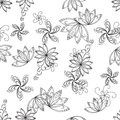 Abstract background contours seamless with graphic floral pattern monochrome vector Stock Photos