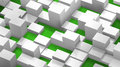 Abstract background of cubes and parallelepipeds, white on green Royalty Free Stock Photo