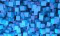 Abstract background of d blue cubes different sizes in random orientations giving a scattered pattern Stock Photography