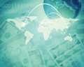 Abstract background with dollars and earth model Royalty Free Stock Photo