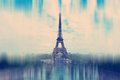 Abstract background. The Eiffel Tower in Paris - radial zoom blu