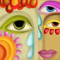 Abstract background with eyes colored and tears Royalty Free Stock Photography