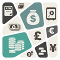 Abstract background with finance and money theme icons Royalty Free Stock Photography