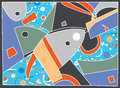 Abstract background with fish motive and pattern Stock Image