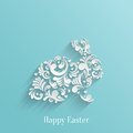 Abstract background with floral easter rabbit bunny trendy design template Royalty Free Stock Image