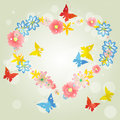Abstract background-floral love shape. Vector heart from butterf Royalty Free Stock Photo