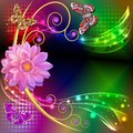 abstract background with flowers and butterflies wi
