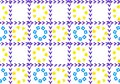 Abstract background of flowers in a cage. Petals from the shapes of squares and hearts. Grid is checkmarks.