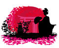 Abstract background geisha silhouette sunset Royalty Free Stock Photos