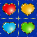 Abstract background with glass multicolor hearts Royalty Free Stock Images