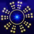 Abstract background with glowing circles of bright luminous stars. For design of websites, banners. On field for text Royalty Free Stock Photo