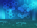 Abstract background with icons inside the hexagon Stock Image