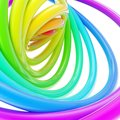 Abstract background made of glossy hoop torus rings rainbow colored over white Stock Images