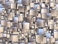 Abstract background made of silver tiles. 3D