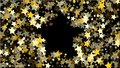 Abstract Background with Many Random Falling Golden Stars Confetti . Royalty Free Stock Photo