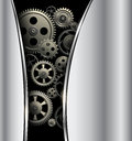 Abstract background metallic silver with gears vector Stock Photos