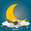Abstract background Moon and stars in the clouds Eps10. Royalty Free Stock Photo