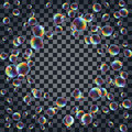 Abstract background with the multicolored realistic soap bubbles