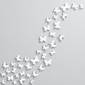 Abstract background with paper  butterfly in the wave form. Royalty Free Stock Photo