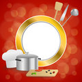 Abstract background red cooking white hat saucepan soup ladle knife paddle kitchen pepper olives gold circle frame illustration Royalty Free Stock Photo