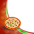 Abstract background red green food pizza yellow orange frame illustration Royalty Free Stock Photo