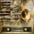 Abstract background with retro radio and musical instruments grunge Stock Photo