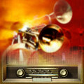 Abstract background with retro radio and musical instruments grunge red Stock Photo