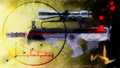 Abstract background rifle with optical sight black and yellow grungy Royalty Free Stock Images