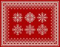 Abstract background with set of knitted snowflake Royalty Free Stock Photo