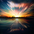 Abstract background with silhouette of city and su color sunrise Stock Images