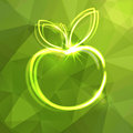 Abstract background with silhouette of luminous ap apple Royalty Free Stock Photo