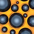 Abstract background of small rings in yellow colors