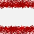 Abstract background with snow and snowflake red borders