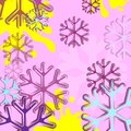 Abstract background with snowflake. Blue and pink snowflake background. Christmas light vector background. Card or invitation