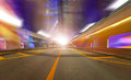 Abstract background speed motion urban highway road tunnel blurred motion toward light computer generated colorful futuristic Royalty Free Stock Photography