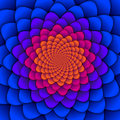 Abstract background. Spiral flower pattern in red and blue. Abstract Lotus Flower. Esoteric Mandala Symbol.