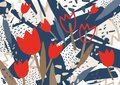Abstract background with stylized red blooming tulip flowers. Unusual colorful horizontal backdrop with natural Royalty Free Stock Photo