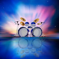 Abstract background with sunrise and drum kit music blue Royalty Free Stock Photography