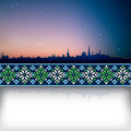Abstract background with sunrise and silhouette of tallinn national ornament Royalty Free Stock Photography