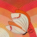 Abstract background tile with butterfly and spiral in warm colors Royalty Free Stock Photo