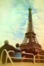 Abstract background .Tourists looking at the Eiffel Tower from t