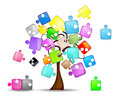 Abstract background with tree and colorful puzzle Royalty Free Stock Photo