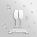 Abstract background with two glasses of champagne and snowflakes Stock Image