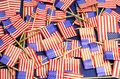 Abstract background of USA Stars and Stripes, red white and blue national toothpick flags Royalty Free Stock Photo