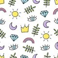 Abstract background with various cartoon elements. Seamless pattern with rainbow, crown, sun, eye, leaf, moon and diamond.