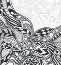 Abstract background in zen tangle zen doodle style black on white or pattern or texture for coloring page or relax coloring book Royalty Free Stock Image