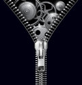 Abstract background zipper with gears vector Royalty Free Stock Image