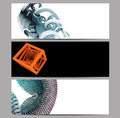 Abstract banner set embellished with d renders creative collection of Stock Images